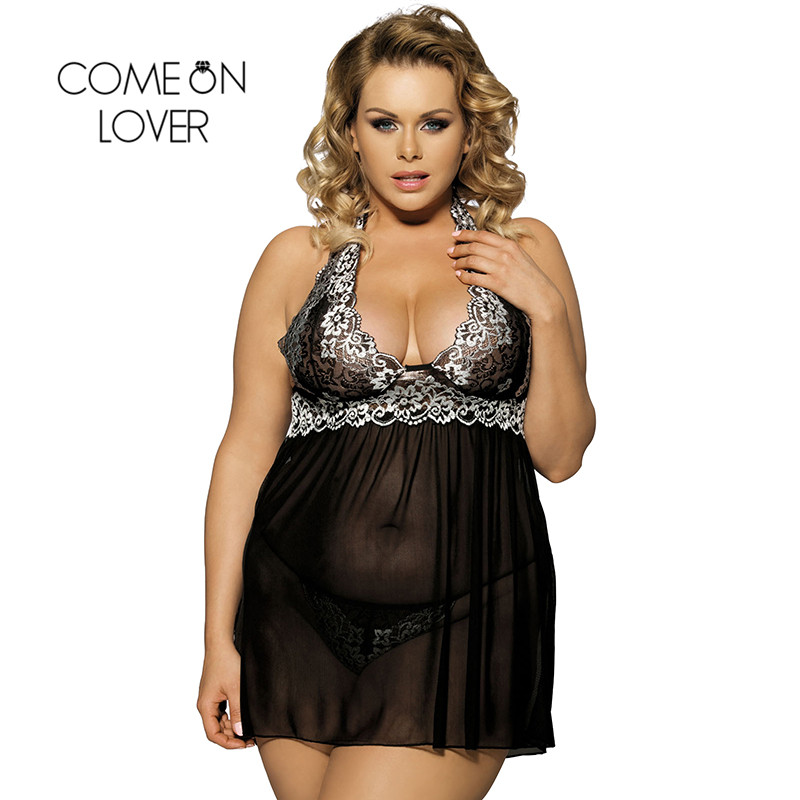 Comeonlover Sexy Clothes Women Night Sex Babydoll Porn Red Lace See Through Halter Big Size Sex Lingerie Women Underwear RI80003