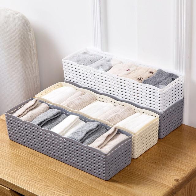 Junejour 5Grids Storage Basket box for clothes plastic Wardrobe Organizer Women Men Storage Box Socks Underwear Makeup Organizer