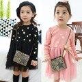 El envío Libre Al Por Menor Niños niñas Al Por Mayor Nueva Primavera Otoño Vestido de Tul Estampado De Estrellas Niños Niños Vestido de Una Pieza 2 Colores