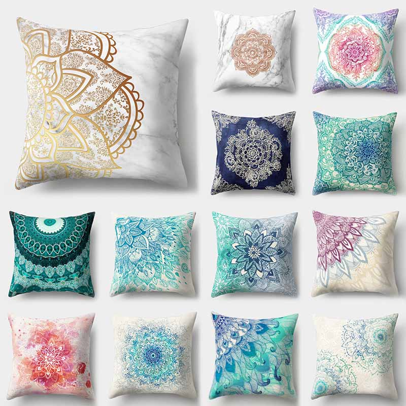 1Pcs Mandala Pattern Blue Polyester Throw Pillow Cushion Cover Car Decor Home Decoration Sofa Decorative Pillowcase 40508