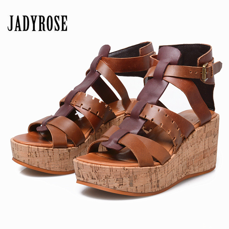 Jady Rose Handmade Gladiator Sandals Women Platform Wedge Shoes Woman Straps Sandalias Mujer Wedges Creepers Summer Sandal цена