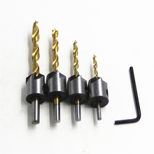 FGHGF 4PCS Useful Titanium Plated Screws Guide 5 Flute Countersink Bit Drill Press Set Chamfer Reamer Woodworking Power Tools