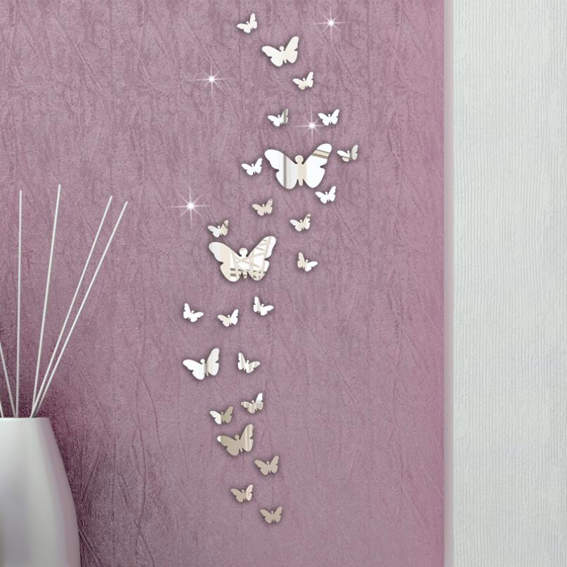 Hot Sale 3d Wall Stickers Mirror Butterfly Home Decor