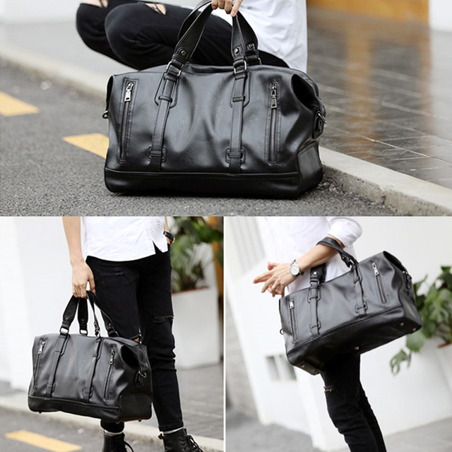 Fashion Men's Travel Bags Luggage Waterproof Suitcase Duffel Bag Big Large Capacity Bags Casual High-Capacity PU Leather Handbag 5