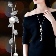 Women's Crystal Leaf Necklace Long Tassel Pendant White Simulated-pearl Jewelry For Dress Decoration Gift Sweater Chain leaf tassel triangle sweater chain