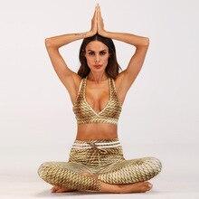 Womens bodycon sexy v-neck halter sports bra and gym yoga fitness pants legging