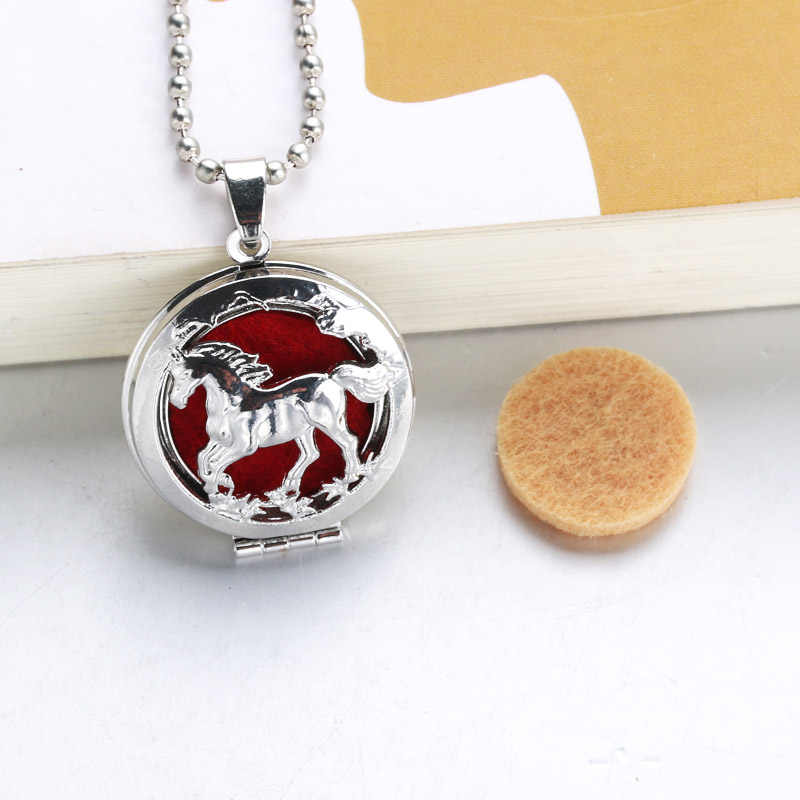 1pc 60cm popular Aromatherapy Perfume Essential Oils Aroma Diffuser Necklace Locket Necklace horse Necklace 040805