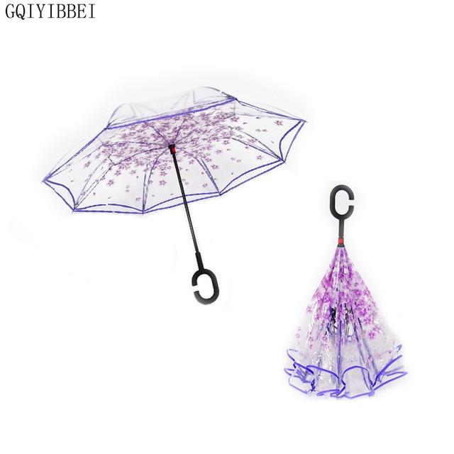gqiyibbei double couche transparent parapluie inverse c type poign e sakura m le invers. Black Bedroom Furniture Sets. Home Design Ideas