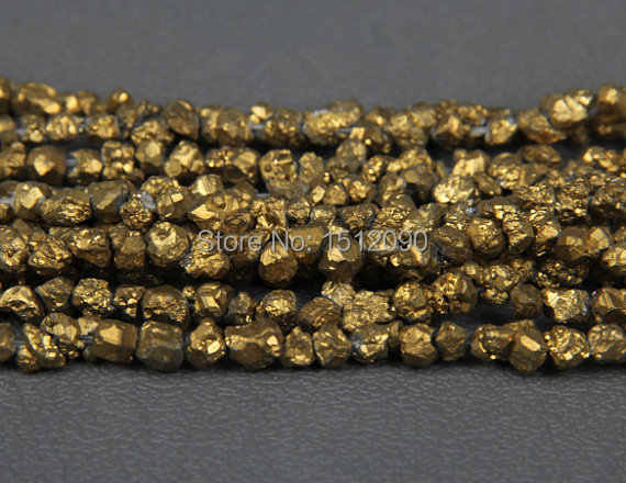 5-8mm Gold Titanium Quartz Drilled Chips Beads,Raw Crystals Rough Quartz  Rubble Loose Beads Nuggets Jewelry Supplies