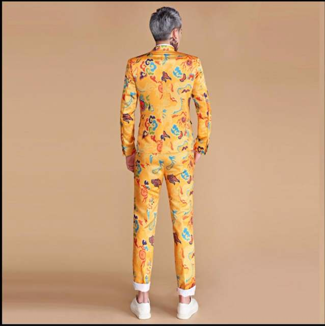 3fc0c93c5ae50 US $101.15 15% OFF|M 3XL New Men print suits golden yellow chinese dragon  slim suit dress nightclub singer Performance costume hairstylist  clothing-in ...