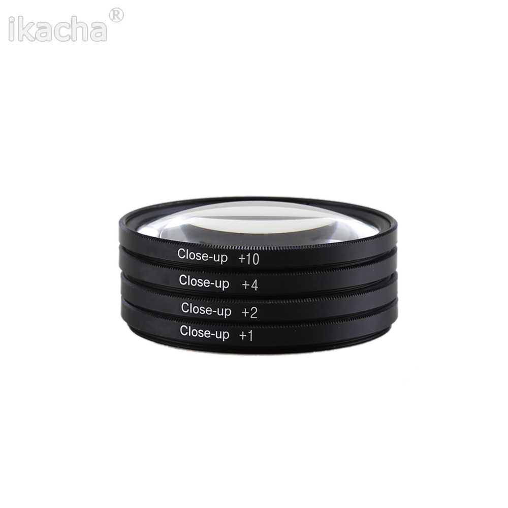 Makro Yakın çekim Lens filtre + 1 + 2 + 4 + 10 filtre kiti 49mm 52mm 55mm 58mm 62mm 67mm 72mm 77mm 82mm Canon Nikon Sony Pentax için Kamera