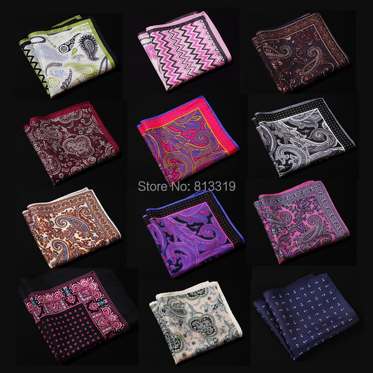 NK Dot Paisley Anchor Herringbone Handkerchief 100% Natural Silk Satin Mens Hanky Fashion Classic Wedding Party Pocket Square