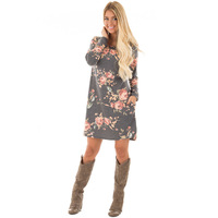 Full Sleeve 2018 Autumn Dresses for Woman O Neck Floral Print Women Knee Length Cotton Dress Casual Female Gray Straight Dress