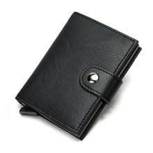 Leather Men Card Holder Slim Automati Popup Aluminum Business Travel Sets Clip Credit Case