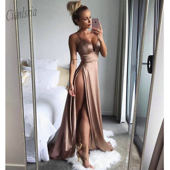 Thigh High Slits Sexy Evening Dress 2020 Elastic Satin Concise Long Party Gowns Spaghetti Straps Deep V neck Hot Prom Dresses
