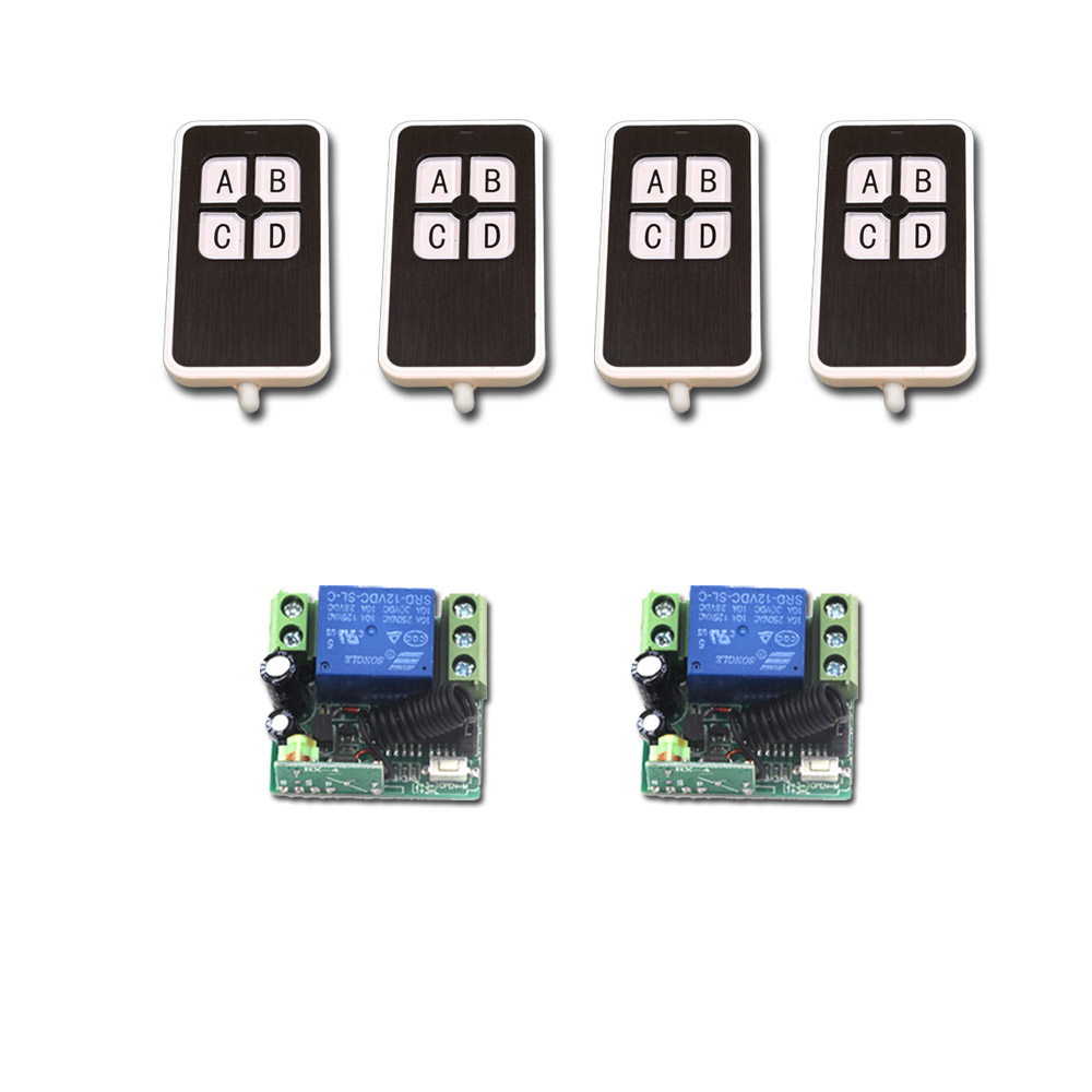 Latest DC12V 1CH RF Wireless Mini Switch Relay Receiver Remote Controllers & 4Key Transmitter Toggle Momentary 315/433mhz remote switch 12v dc rf wireless 4 receiver 3 transmitter lighting digital switch learning code toggle momentary 315 433 92mhz