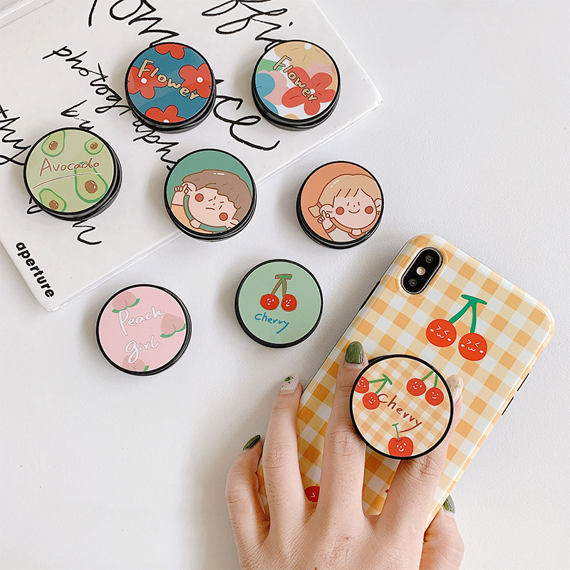 Cute Flower Folding Stand For Mobile Phone Holder For IPhone X 8 7 6 Plus For Samsung For Huawei Phone Case Fruit Grip Kichstand
