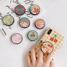 Mignon Fleur support Pliant Pour Support De téléphone Portable pour iPhone X 8 7 6 Plus pour Samsung Pour Téléphone Huawei Cas Fruits Poignée Kichstand