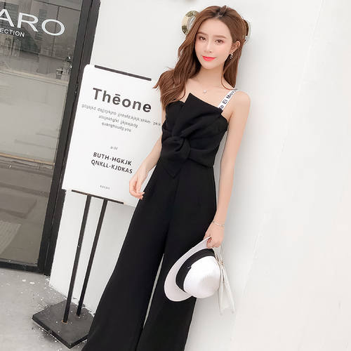Summer New Sling Bowknot Rompers Womens Jumpsuit Fashion Wide Leg Pants Thin Combinaison Femme Elegant Ol Clothes For Women 1