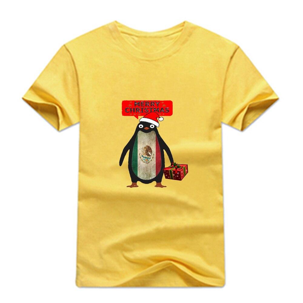 Gresanhevic Mens Mexico Penguin say Merry Christmas T-shirts Short Sleeve Man Clothing