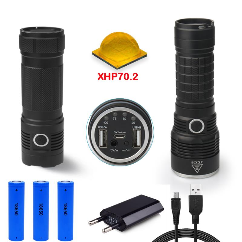 50000lumens XLamp XHP70 2 usb hunting most powerful flashlight led cree xhp70 rechargeable torch 18650 mobile