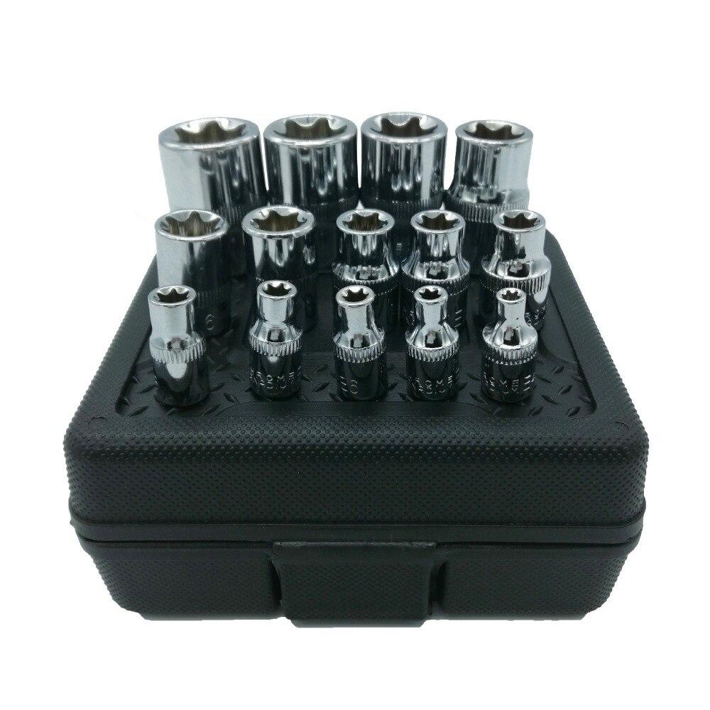 Milda New 14pcs/set E Torx Star Female Bit Socket Set 1/2