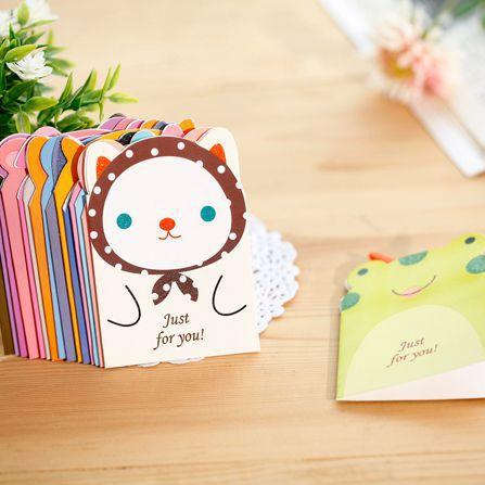 Romantic 8pc/lot Cartoon Animal Cute Universal Greeting Card Mini Holiday Card Lovely Creative Fresh Birthday Business Card