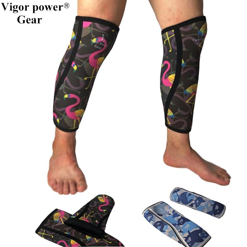 Vigor Power Gear 5mm thick Neoprene calf sleeves knee sleeves Shin support like deadlift socks for weight lifting, Fitness ombre circle calf length socks