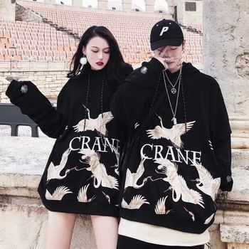 2018new western autumn and winter hip hop women embroidered crane hoodie