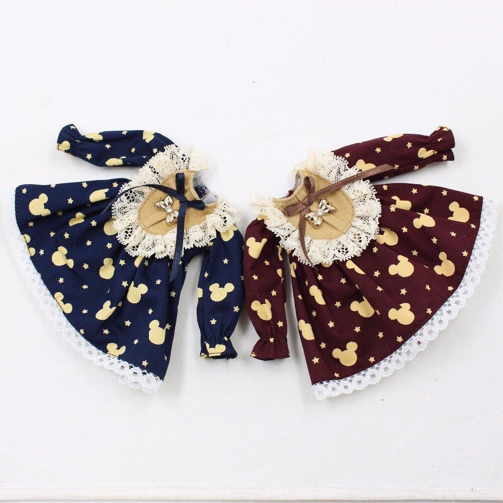 Neo Blythe Doll Vintage Lace Mickey Mouse Print Dress 1