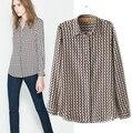 Brand Design Women Blouses 2015 Geometric Print Long Sleeve Vintage Shirts Sheer Lady Chiffon Blouses Blusas Femininas