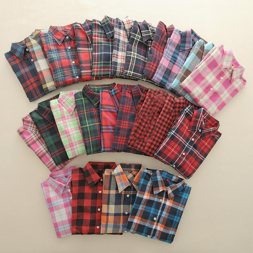 2018 New Brand Women Blouses Long Sleeve Shirts Cotton Red and Black Flannel