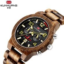 лучшая цена KUNHUANG Unique Male Watch Zebra Wood Craft Black 3 Dial Chronograph Date Wooden Bracelet Quartz Movement Clock Erkek Kol Saati