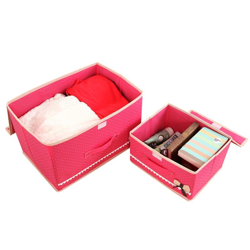 2pcs/set home cute bow tie storage boxes bins organization closet Cute Organizer Box
