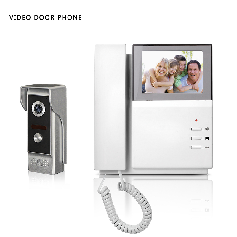 Small video intercom system 4.3''tft lcd handset screen 1 monitor wire video doorphone for villa night vision camera metal lcd wired video security doorphone camera tft screen video interphone infrared night vision doorbell intercom