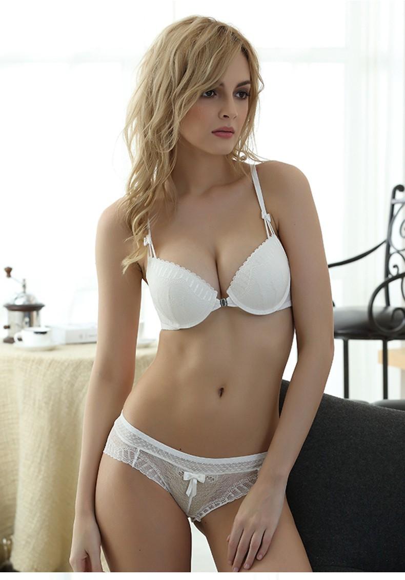 Fashion Sexy Women Bra Set Front Closure Underwear Bra Briefs Set Plus Size Brassiere Lingerie Push Up Bra And Panty Set BS345 11