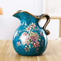 Creative American Painted Flower and Bird Table Arrangement Vase Ceramic Small Milk pot Craft Home Decoration Household Vase