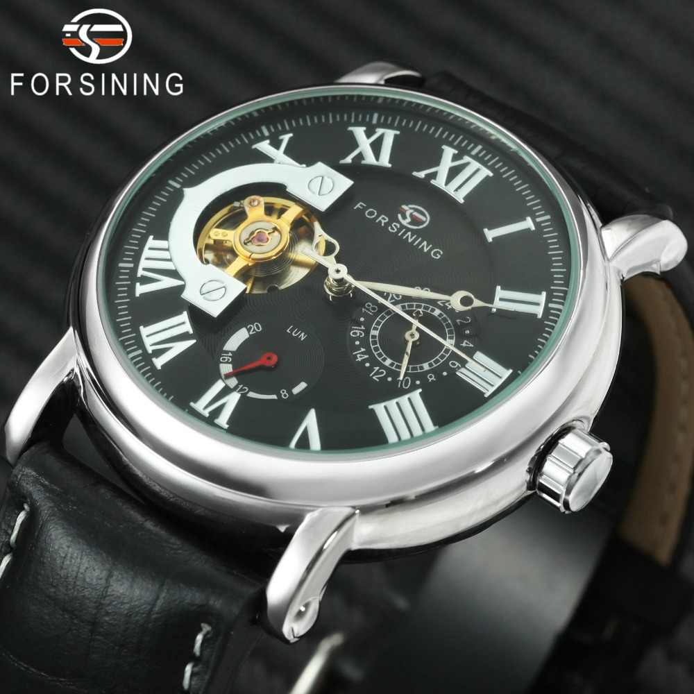 цена на FORSINING Men Wrist Watches for Men Roman Numerals Dial Working Sub-dials Leather Watch Band Auto Mechanical Watch Reloj Hombre