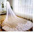Fashionable 3M Cathedral Veil Ivory White Lace Long-bridal Bridal Veil-shaped Wedding Accessories Wedding Bridal Veil