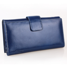 Genuine leather Long women wallets much Card holder Solid color zipper hasp All-match mini Oil Wax Cowhide Lady Clutch bag