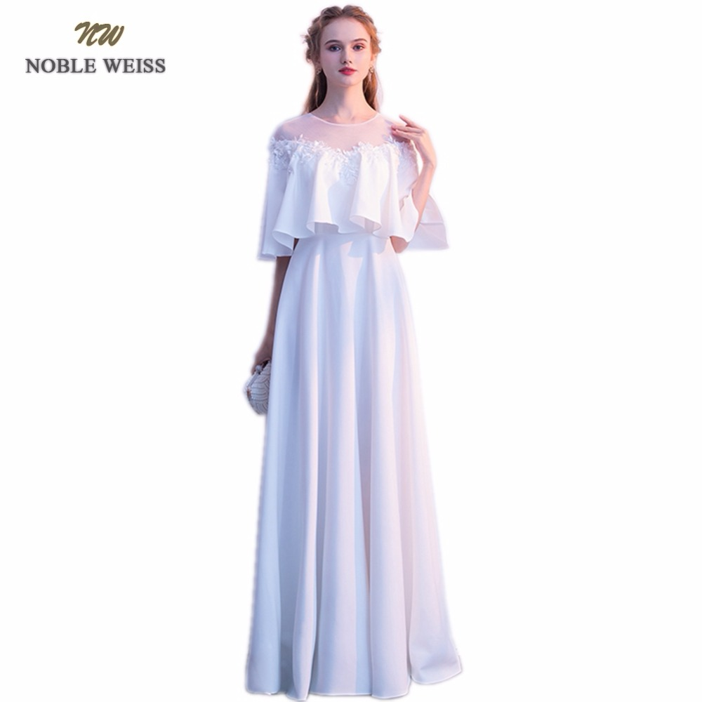 NOBLE WEISS White Evening Dresses Appliques Beading Sexy High Quality Robe De Soiree A Line Party