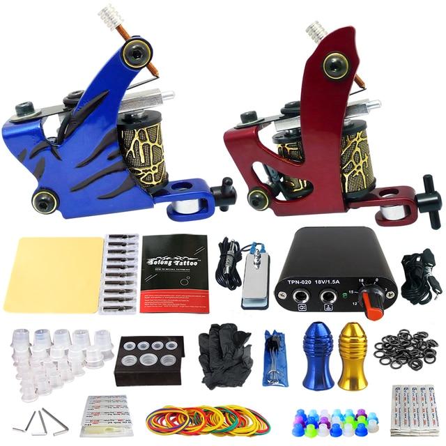Solong Tattoo Complete Tattoo Kits 2 Pro Handmade Coil Machine Guns Power Supply 20 Needles Grip Tip Taty Set TK201-4