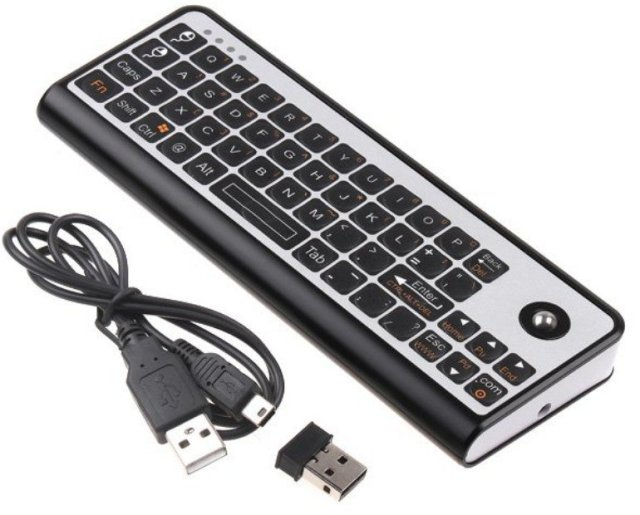 Free shipping 3 in 1! 2.4G Mini Handheld Wireless Keyboard  Trackball Mouse + IR Learning Remote Controller   QWERTY