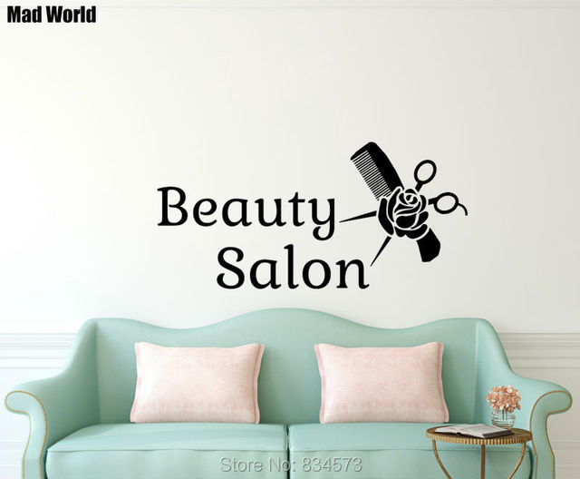 Mad World Beauty Salon Woman Cosmetic Hairdressing Wall Art Stickers ...