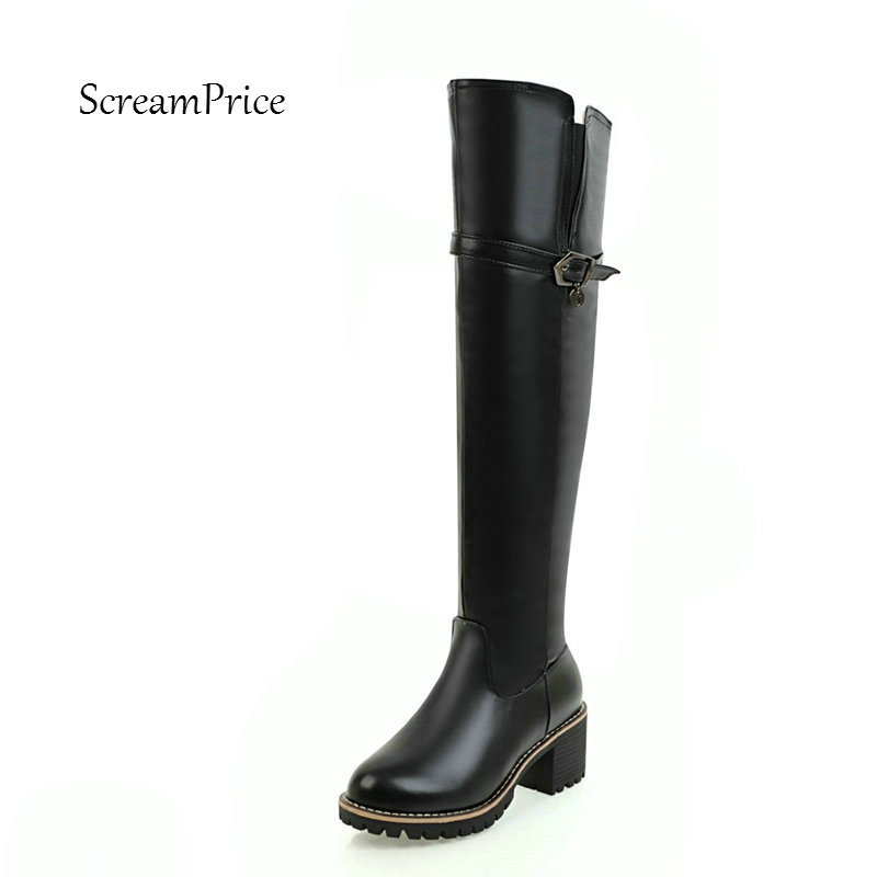 Women Fashion Buckle Side Zipper Knee High Boots Comfortable Square Heel Round Toe Winter Shoes Beige Black White winter warm square high heel side zipper knee high boots fashion round toe shoes woman brown white black