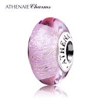 ATHENAIE Genuine Murano Glass 925 Silver Core Pink Shimmer Charms Bead Fit European Bracelets Gift For