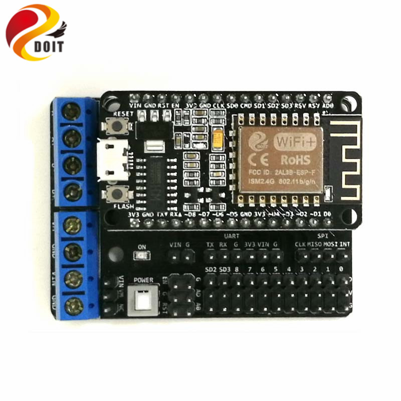 DOIT NodeMCU ESP8266 Development Board + Motor Drive Shield WiFi ESP8266 ESP 12F DIY RC Kit for Smart Robot Car/Tank Chassis DIY doit v3 new nodemcu based on esp 12f esp 12f from esp8266 serial wifi wireless module development board diy rc toy lua rc toy