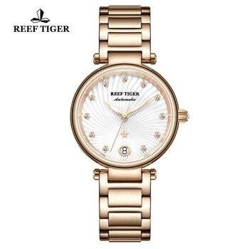 цена Reef Tiger/RT Brand Luxury Rose Gold Women Watch Diamond Polaris Dial Automatic Bracelet Watches 2019 New reloj mujer RGA1590 онлайн в 2017 году