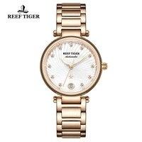 Reef tiger/rt marca de luxo rosa ouro relógio feminino diamante polaris dial automático pulseira relógios 2019 novo reloj mujer rga1590|Relógios com Pulseira| |  -