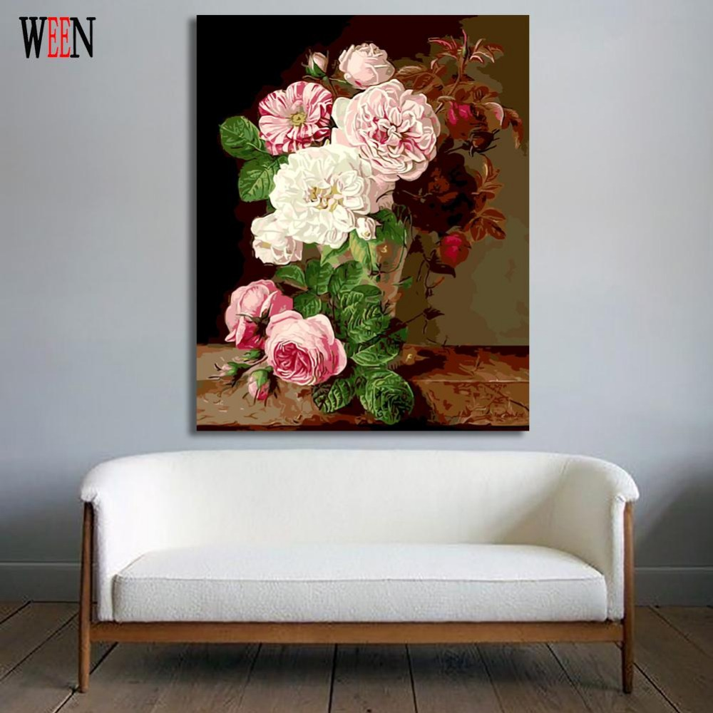 WEEN Digital Flower Painting By Numbers Modern DIY Wall Canvas Art Picture For Home Decor Gift Coloring by numbers Wall Artwork in Painting Calligraphy from Home Garden
